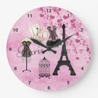 Chic Pink Paris Clock