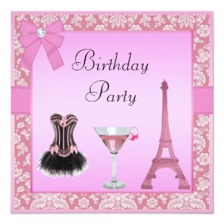 Chic Pink Paris Damask Corset Birthday Party Invitations
