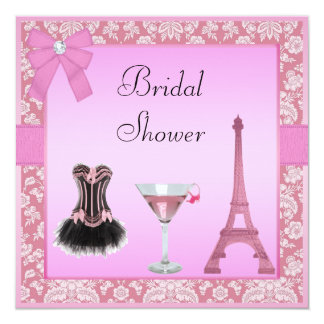 Chic Pink Paris Damask Corset Bridal Shower 5.25x5.25 Square Paper Invitation Card