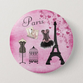 Chic Pink Paris Eiffel Tower Fashion Pinback Button