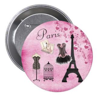 Chic Pink Paris Eiffel Tower Fashion Pinback Button