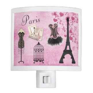 Chic Pink Paris Fashion Night Light