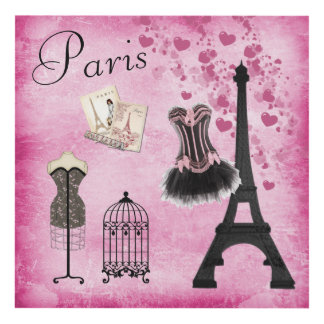 Chic Pink Paris Fashion Panel Wall Art