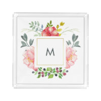 Chic Pink Peonies with Monogram Acrylic Tray