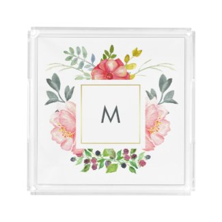 Chic Pink Peonies with Monogram Square Serving Trays