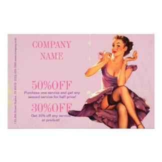 chic pink pin up girl  beauty salon makeup artist flyer