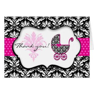 Chic Pink Polka Dot Damask Baby Shower Thank You Greeting Card