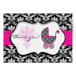 Chic Pink Polka Dot Damask Baby Shower Thank You Stationery Note Card