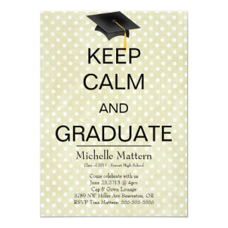 Chic Pink Polka Dot Keep Calm and Graduate Invite
