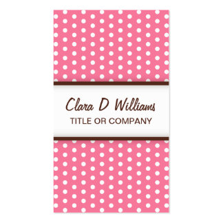 Chic pink polka dot pattern profile card business card