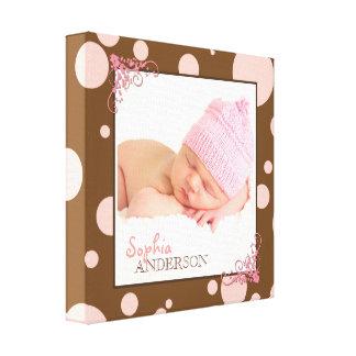Chic Pink Polka Dots Baby Photo Canvas Print