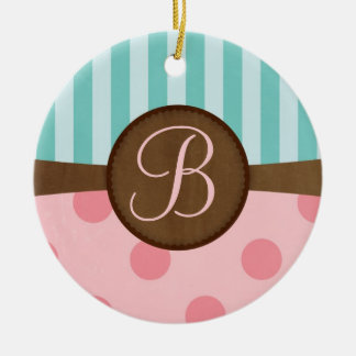 Chic pink polka dots teal stripes monogram ceramic ornament