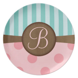 Chic pink polka dots teal stripes monogram party plates
