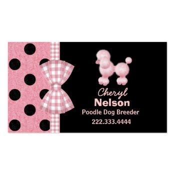 Chic Pink Poodle Breeder Business Cards