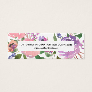 Chic Pink Purple Florals Wedding Website Mini Business Card