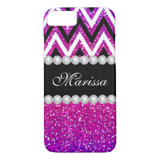 Chic Pink Purple Glitter Black White Chevron iPhone 8/7 Case