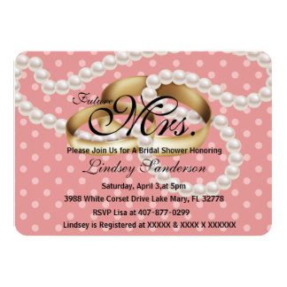 Chic Pink Rings With Pearls Bridal Invite