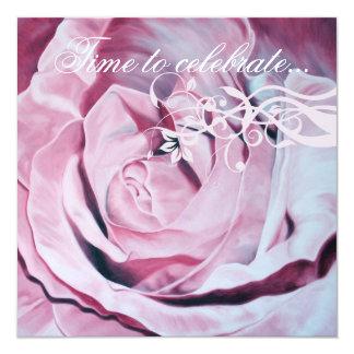 Chic Pink Rose Celebrate Bachelorette Party Invite