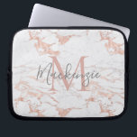 "Chic Pink Rose Gold Foil Marble Monogram Computer Sleeve<br><div class=""desc"">Chic Blush Pink 