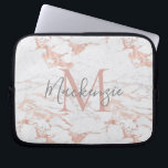 "Chic Pink Rose Gold Foil Marble Monogram Laptop Sleeve<br><div class=""desc"">Chic Blush Pink 