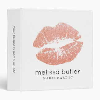 Chic Pink Rose Gold Lips Makeup Artist Binder