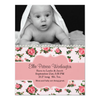 Chic Pink Roses Baby Girl Birth Announcement