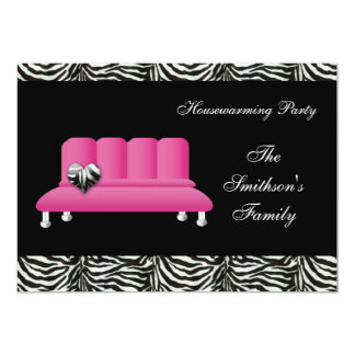 "chic pink sofa , party Invitation 5"" X 7"" Invitation Card"