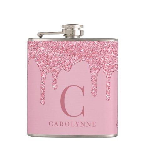 Chic Pink Sparkle Glitter Drips Monogram Flask
