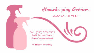 Housekeeping business cards templates zazzle chic pink spray bottles housekeeping services business card colourmoves