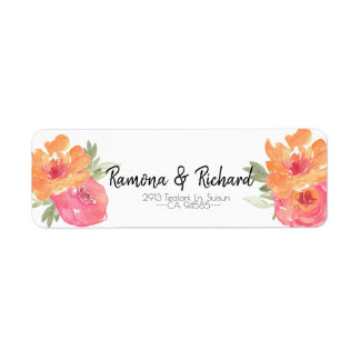 Chic Pink Spring Flower Wedding Return Label