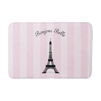 Chic Pink Stripe Paris Eiffel Tower in French Bathroom Mat