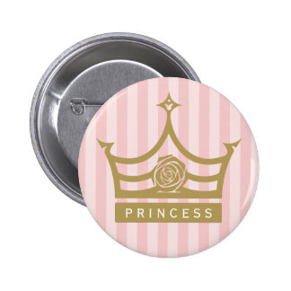 Chic Pink Stripes and Gold Rose Princess Crown Button