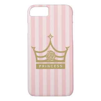 Chic Pink Stripes and Gold Rose Princess Crown iPhone 7 Case