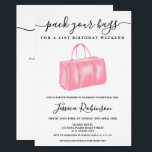 "Chic pink watercolor bag birthday program weekend<br><div class=""desc"">Plan the perfect21st birthday party program weekend and itinerary and pack your bags  with this pastel pink watercolor weekend bag</div>"