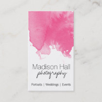 Chic Pink Watercolor Business Card