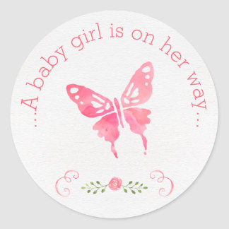 Chic Pink Watercolor Butterfly Girl Baby Shower Classic Round Sticker