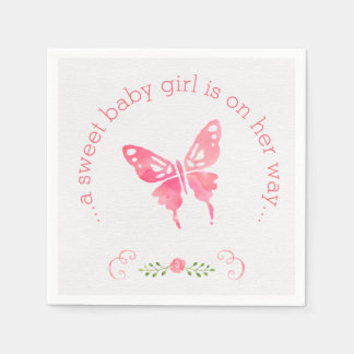 Chic Pink Watercolor Butterfly Girl Baby Shower Napkin