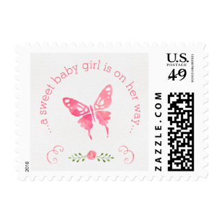 Chic Pink Watercolor Butterfly Girl Baby Shower Postage