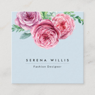 Chic Pink watercolor flowers floral Aesthetician Square Business Card