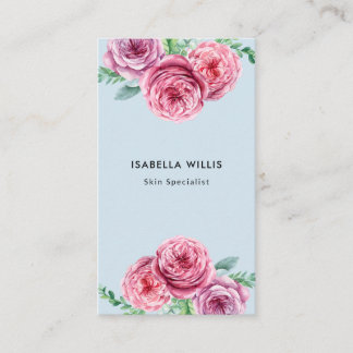 Chic pink watercolor flowers floral hair stylist business card