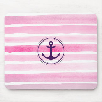 Chic Pink Watercolors Stripes Nautical Anchor Mouse Pad