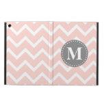 Chic Pink White Gray Zigzag Chevron Monogram iPad Air Cover