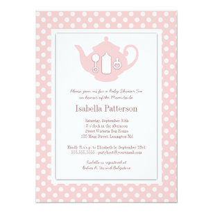 Teapot invitations zazzle chic pink white teapot baby shower tea party invitation filmwisefo