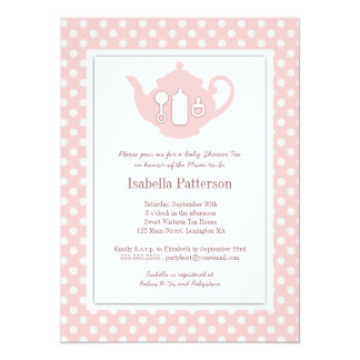 Chic Pink | White Teapot Baby Shower Tea Party Personalized Announcement