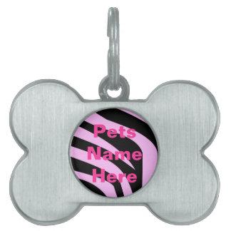 Chic Pink Zebra Print Pet Tag