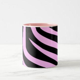 Chic Pink Zebra Print Two-Tone Coffee Mug