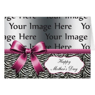 chic pink zebra stripes mother's day photo card