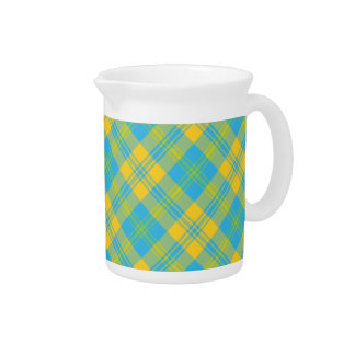Chic Pitcher or Jug: Blue, Yellow, Green Plaid