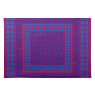 Chic Placemat, Purple and Blue Checks and Ogees Cloth Place Mat