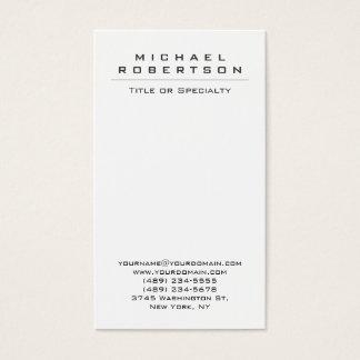 Chic Plain Vertical White Unique Business Card